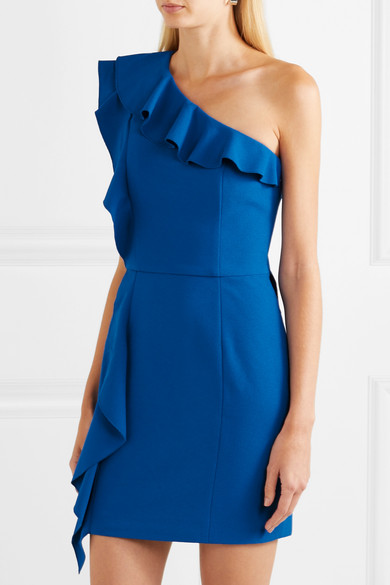 Caspian One-shoulder Ruffled Crepe Mini Dress - Blue Rebecca Vallance 100% Authentic Sale Online From China Cheap Online Clearance High Quality Really Cheap Shoes Online Pre Order For Sale cxTC91Vvwq