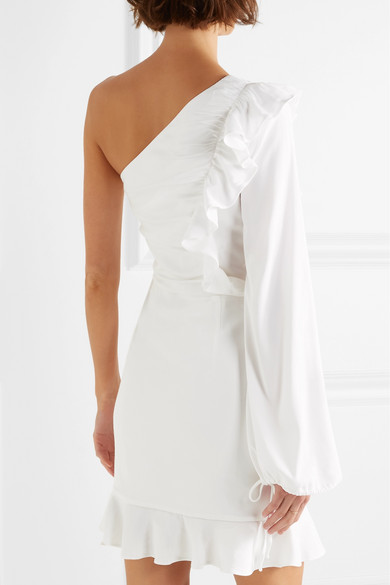 Best Sale Online Discount Enjoy Argentine One-shoulder Ruffled Stretch Crepe De Chine Mini Dress - White Rebecca Vallance Free Shipping Online Outlet Locations Sale Online Low Cost Cheap Price J4cubw65
