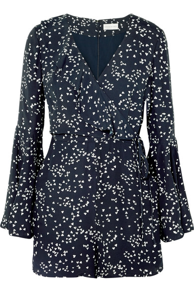 Navy Blue Playsuit with Wrap and ruffles