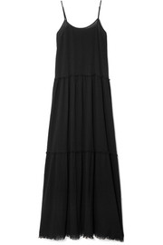 Tiered crinkled cotton-gauze maxi dress