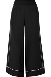 Cropped silk-charmeuse wide-leg pants