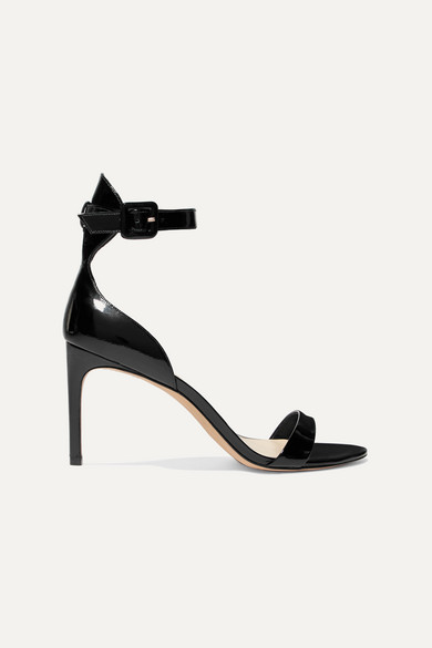 Nicole Patent Mid-Heel Sandals in Black from SOPHIA WEBSTER