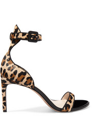 Nicole leopard-print calf hair and patent-leather sandals