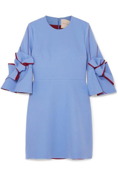 Harlin Bow Embellished Crepe Mini Dress by Roksanda