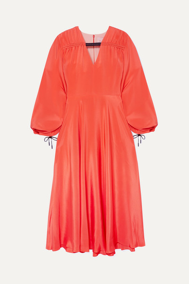 Houma Silk Crepe De Chine Midi Dress - Papaya Roksanda Ilincic nQj1sq