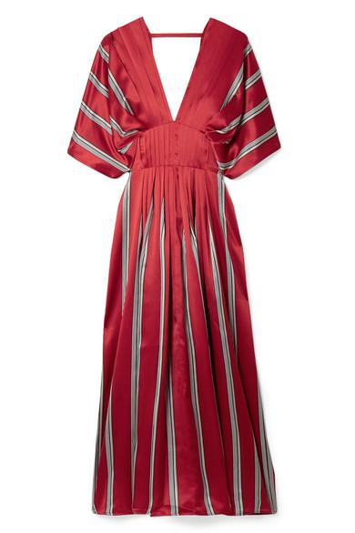 ROKSANDA Mihara Pleated Striped Silk-Satin Midi Dress in Red