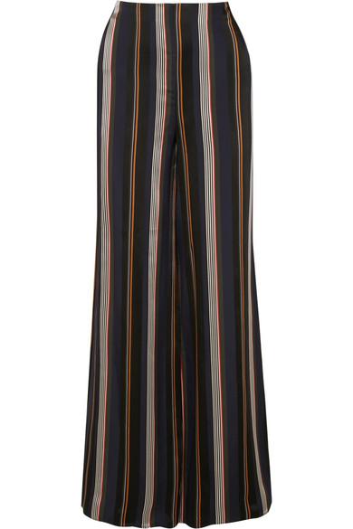 ROKSANDA Arneau Striped Wide-Leg Satin Trousers in Midnight Blue