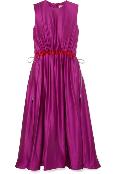 ROKSANDA Keeva Silk-Satin Midi Dress in Pink