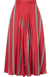 Roksanda Thaki pleated striped silk-twill midi skirt