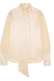 Roksanda Mila pussy-bow hammered silk-satin blouse