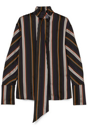 Mila pussy-bow striped satin-jacquard blouse