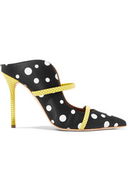Malone Souliers by Roy Luwolt + Emanuel Ungaro Maureen 100 polka-dot leather-trimmed faille mules