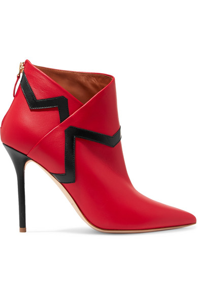 Malone Souliers - Emanuel Ungaro Amelie Leather Ankle Boots - Red
