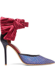 Malone Souliers by Roy Luwolt + Emanuel Ungaro Elle 100 satin-trimmed leather and mesh pumps