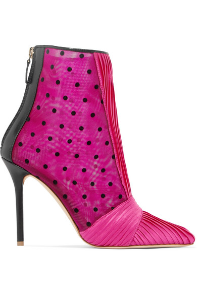 Ungaro Charlise Pleated Satin, Polka-Dot Mesh And Leather Ankle Boots, Pink & Purple