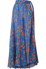 Caroline Constas Hera printed cotton and silk-blend voile maxi skirt