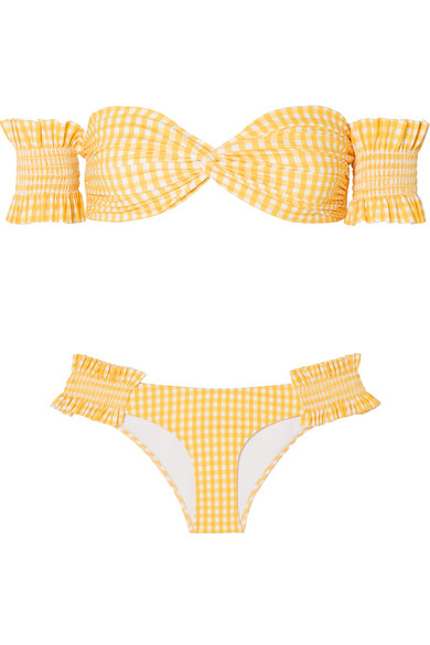 Bikini Épaules Nues Vichy À Smocks Andros - Jaune