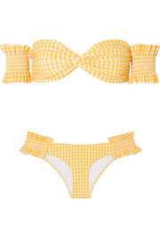 Andros off-the-shoulder shirred gingham bikini