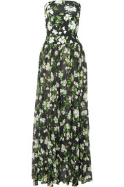 Caroline Constas Marianna strapless floral-print stretch-jersey and voile maxi dress