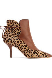 Jordan leopard-print calf hair and leather ankle boots
