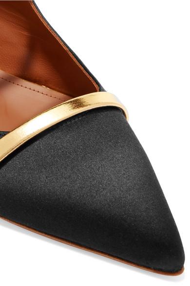 Malone Souliers | Maureen flache Schuhe mit mit spitzer Kappe aus Satin mit mit Besatz aus Metallic-Leder 488627