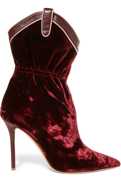 Malone Souliers - Daisy Leather-trimmed Velvet Ankle Boots - Burgundy