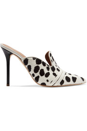 Hayley leather-trimmed animal-print calf hair mules