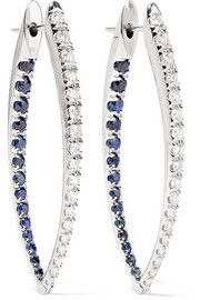 Cristina 18-karat white gold, diamond and sapphire earrings