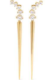 Aria Dagger 18-karat gold diamond earrings