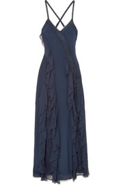 Alice + Olivia Jayda lace-trimmed silk crepe de chine gown