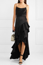 Alice + Olivia Lauralei ruffled satin gown
