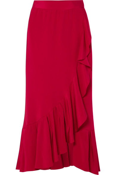 Adam Lippes - Ruffled Silk-crepe Wrap Skirt - Red