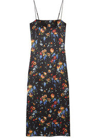 Adam Lippes Floral-print hammered silk-crepe midi dress