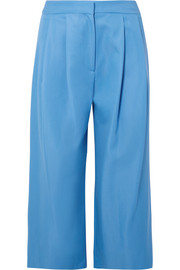 Cropped pleated wool-blend gabardine culottes