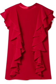 Satin-trimmed ruffled silk-crepe top