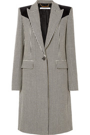 Givenchy Velvet-paneled houndstooth wool coat