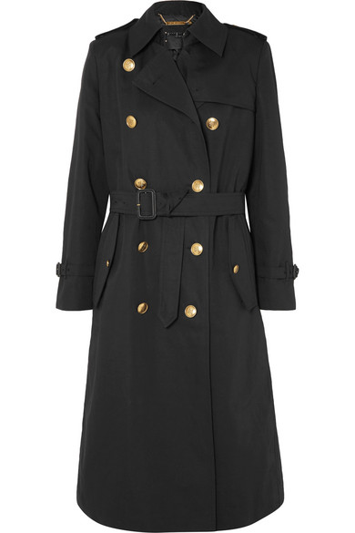Belted Double-Breasted Cotton And Linen-Blend Twill Coat in Navy