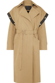 Belted leather-trimmed cotton and linen-blend trench coat