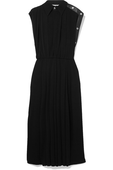 Givenchy Dress Leather-trimmed pleated jersey midi dress
