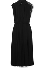 Givenchy Leather-trimmed pleated jersey midi dress
