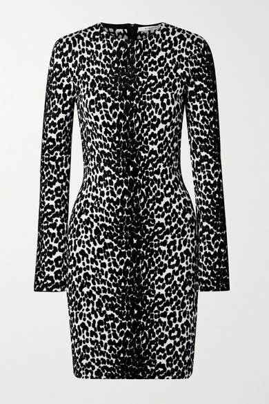 Leopard-Pattern Jacquard-Knit Minidress - Black Size Xs