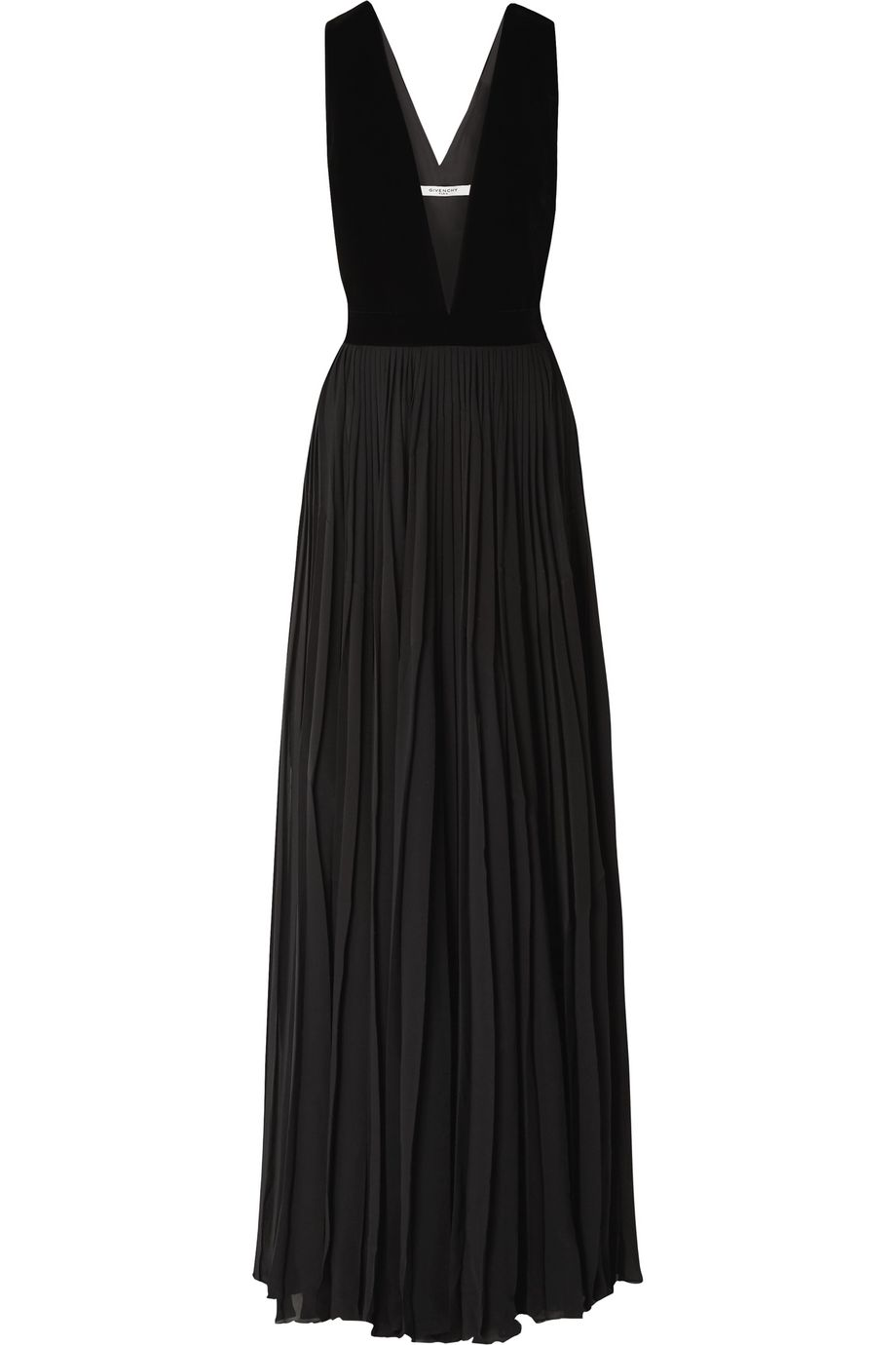 Givenchy Velvet and pleated silk-georgette gown
