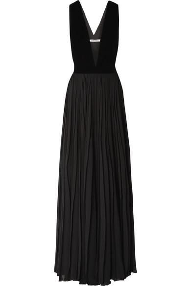 Sleeveless Velvet-Top Pleated-Skirt Evening Gown, Black
