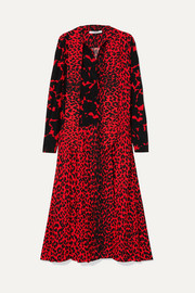 Givenchy Pussy-bow pleated printed silk crepe de chine dress
