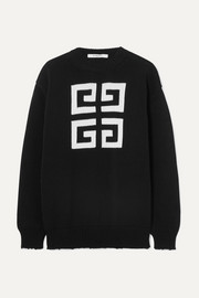 Givenchy Baumwollpullover mit Intarsienmotiv in Distressed-Optik