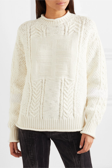 Givenchy Knits Cable-knit wool and cashmere-blend sweater