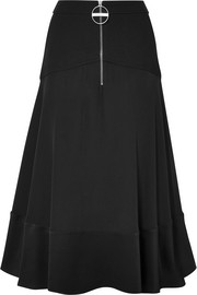 Givenchy Paneled hammered silk-satin, wool and crepe skirt