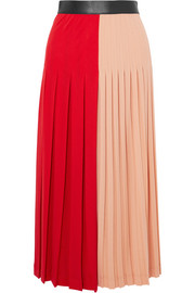 Givenchy Color-block pleated stretch-jersey midi skirt