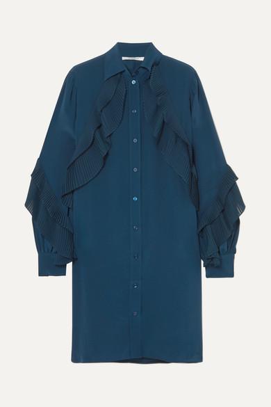 Ruffled silk crepe de chine tunic