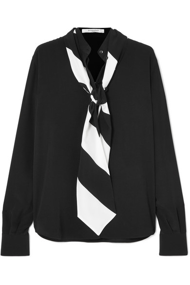 GIVENCHY Long-Sleeve Button-Front Silk Blouse With Striped Detachable Scarf in Black